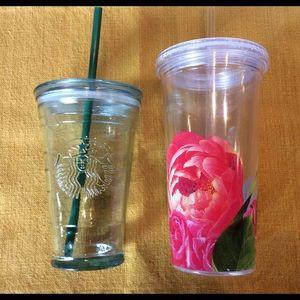 Starbucks Recycled Glass & Kate Spade Cup W/ Straw